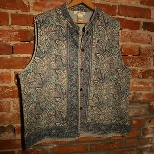 Orvis 100% Cotton Blue Paisley Vest